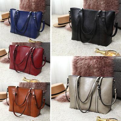 Women Designer Oil Wax Leather Handbag  Shoulder Tote Top Handle Bag