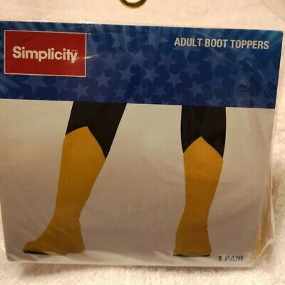 Superhero Yellow Costume Boot Tops Adult Medium - Yellow Superhero Boots
