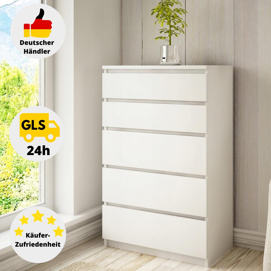 Kommode Weiß Sideboard mit 5 Schubladen Anrichte Schrank Modern Highboard 70 cm