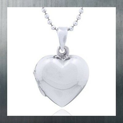 Sterling Silver locket pendant shiny smooth puffed Heart timeless classic dainty ()