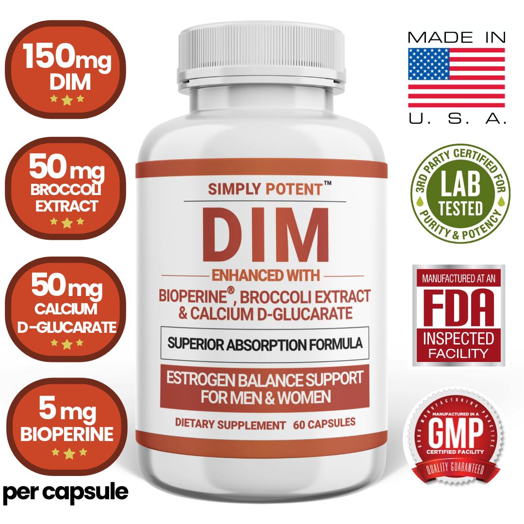 DIM Supplement 150mg + BioPerine for Menopause Relief Hot Flashes Estrogen Pills