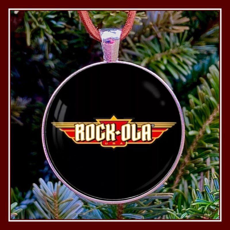 Rockola Rock Ola Jukebox Emblem Photo Ornament Gift Fob Pendant
