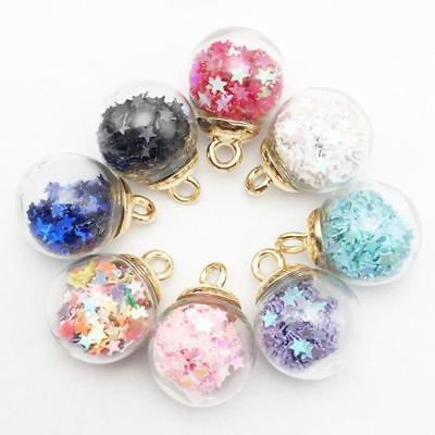 10Pcs Korean Christmas Crystal Glass Ball Charms Jewelry Earrings Necklace Decor - Christmas Charms