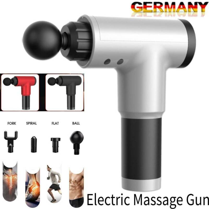 Electric Massage Gun Massagepistole Massager Muscle Muskelmassagegerät + 4 Köpfe