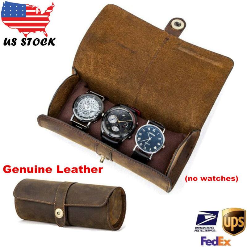 Genuine Leather Watch Roll Display Box Travel Case Wrist Wat