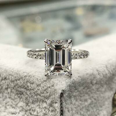 GIA Natural 2.00 ct. Emerald Cut Pave Diamond Engagement Solitaire Ring G, VS2
