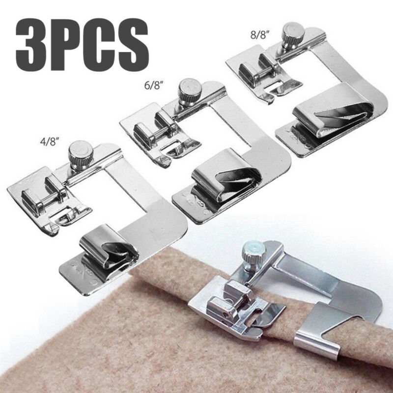 3Pcs Set Domestic Sewing Machine Foot Presser Rolled Hem Fee