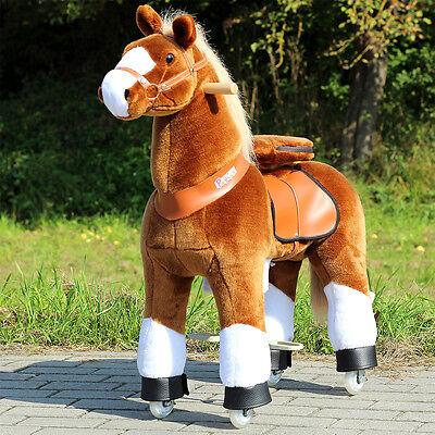 """Ponycycle """"Amadeus"""" Pferd hell Braun medium Schaukelpferd auf Rollen mit Sound"""