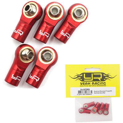 NEW Yeah Racing YA-0572RD Alum Reversed Thread M3 Rod Ends (5) Red FREE US -