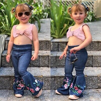 Wide Leg Kids Jeans (Kids Baby Girl Bell-Bottom Pants Hit Color Denim Wide Leg Jeans Trousers)