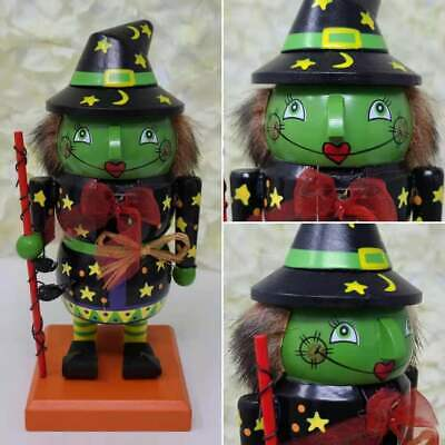 Wooden Green Witch Nutcracker Halloween Figure Holiday Décor Hand Painted Rare