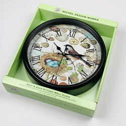 Michel Design Works Spring Bird Nest and Eggs Metal Glass Kitchen Wall Clock
