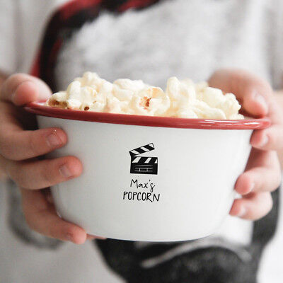 Personalised Children's Movie Night Popcorn Enamel Bowl Gift - Personalized Popcorn Bowl