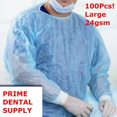 100 Pcs Isolation Gown Medical Dental Blue With Knit Cuff Large 100pcscase