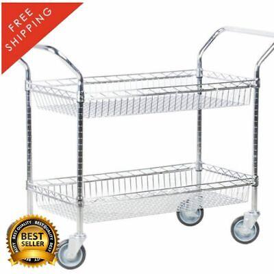 18 X 36 Two Basket Silver Chrome Metal Wire Heavy Duty Restaurant Utility Cart