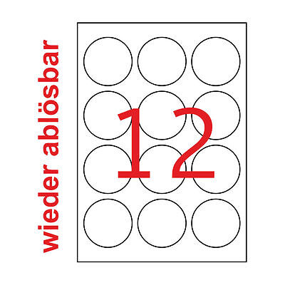 20 Blatt A4 60 mm Rund Etiketten Wieder Ablösbar 240 Weiße Runde Aufkleber