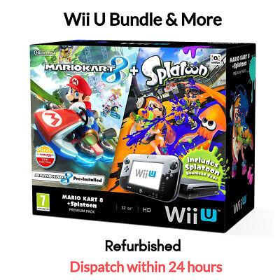 Nintendo Wii U Mario Kart 8 + Splatoon 32GB Black Handheld System & More