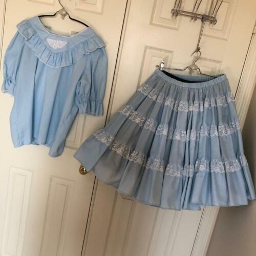 Square Dance Skirt Blouse Set L 45 Bust Lt Blue Eyelet Lace Poof Sleeves Ruffles