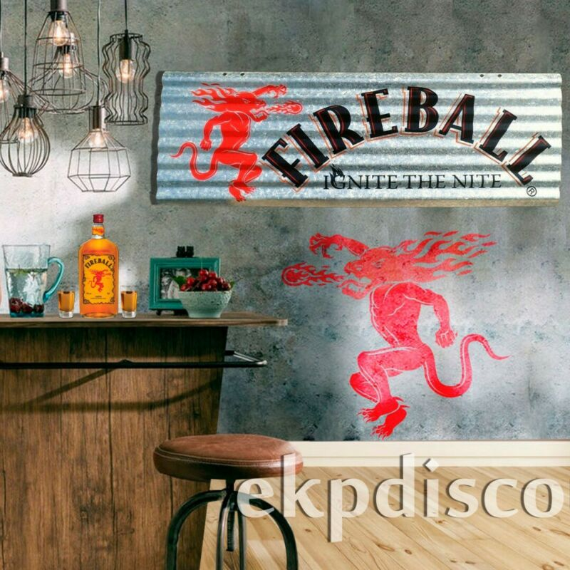 New Fireball Whisky Corrugated Aluminium Metal Sign - Ignite The Nite - Whiskey