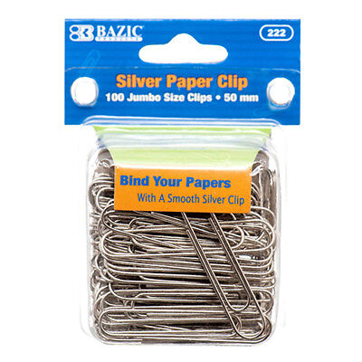 100 Large Jumbo Paper Clips 50 Mm Silver Smooth Finish Craft Home School Office