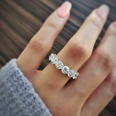 6.10 TCW Natural Round Halo Pave with Round Eternity Wedding Band  GIA Certified 2