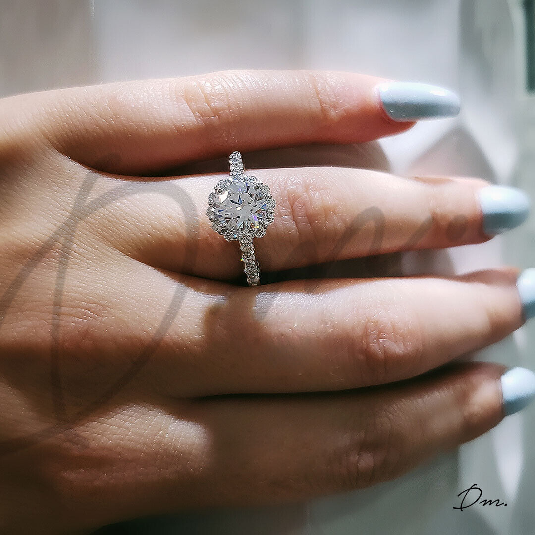 1.50 TCW Natural Scalloped Halo Pave Diamond Engagement Ring - GIA Certified