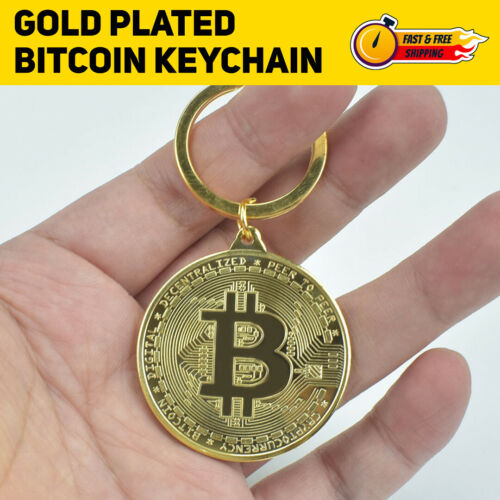 BTC Keychain Gold Plated Bitcoin Physical Coin Cryptocurrency