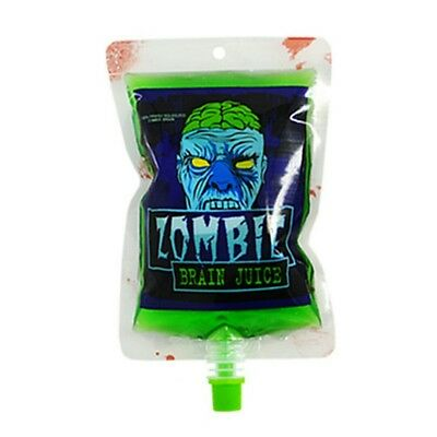 (x2) Zombie Brain Juice Bag Drink Bag Blood Gag Halloween Party Twist Cap - Brain Juice Halloween