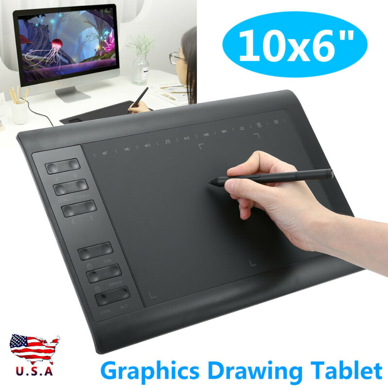 """10x6"""" Large Screen Graphics Drawing Tablet USB Board Quick R"""
