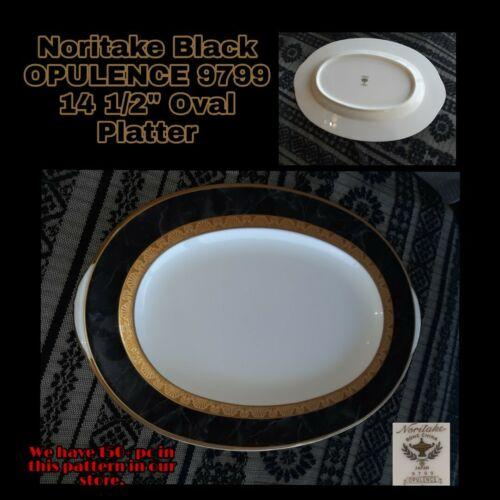 NEW Noritake OPULENCE 14 Oval Medium Serving Platter Black Onxy Marble 9799  - $65.00