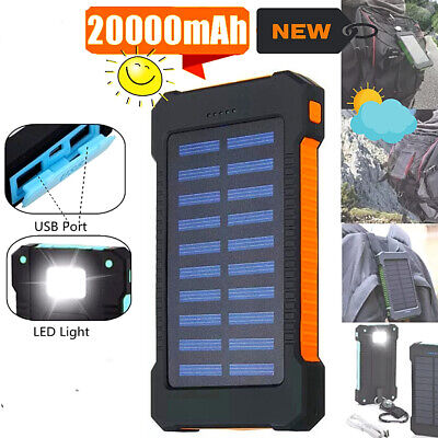 solar 20000mah dual usb power bank portable