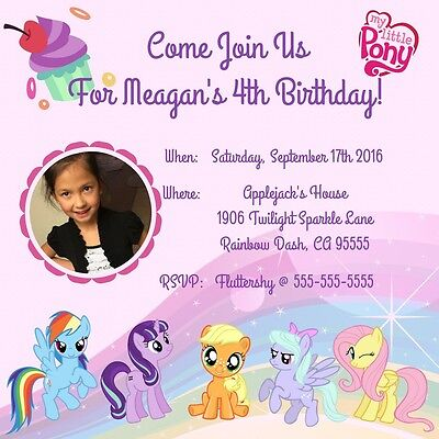 My Little Pony Birthday Invitations Print At Home Digital JPEG PDF File-photo