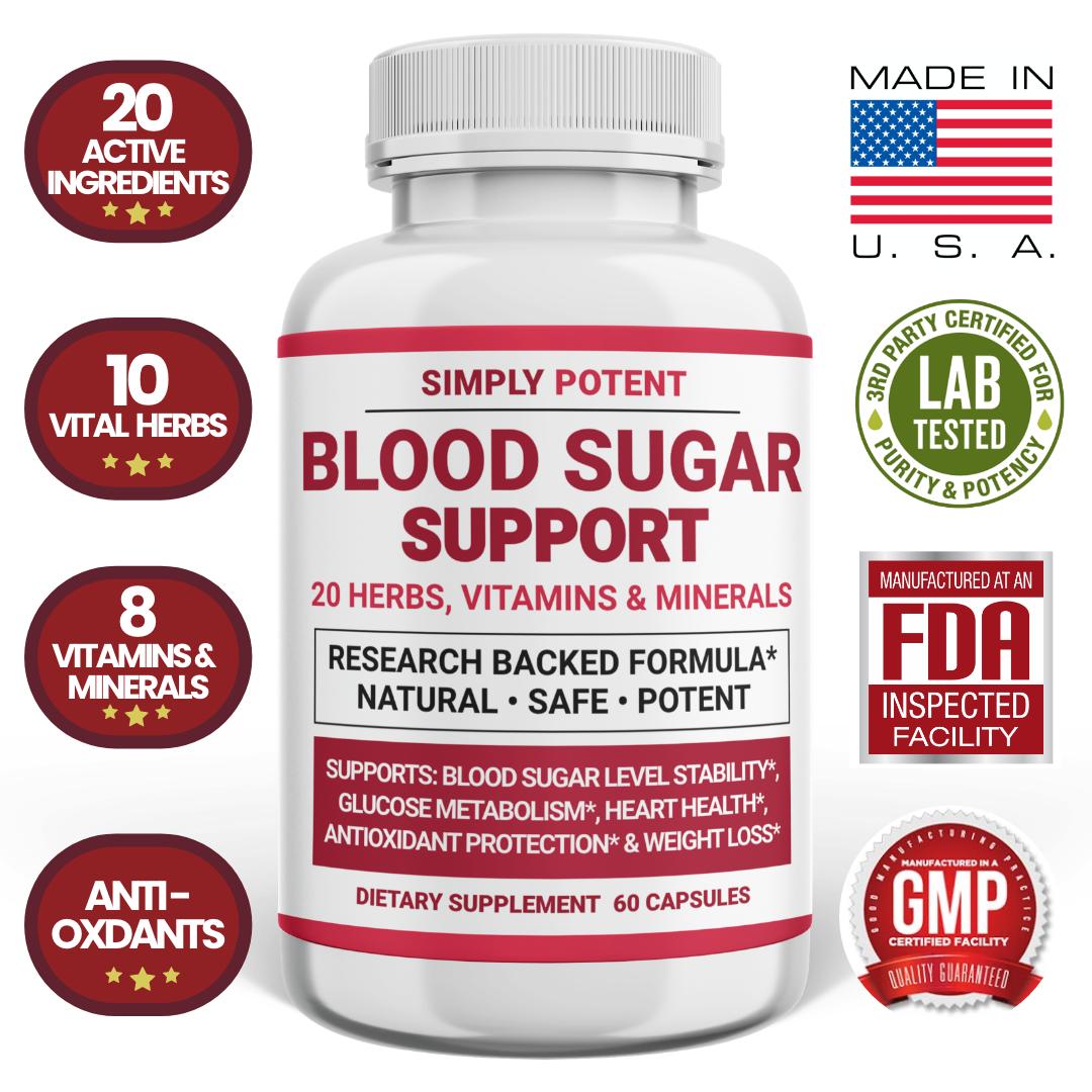 Blood Sugar Supplement, Ultra Diabetic Support Formula 600mg 20 Herb w Cinnamon
