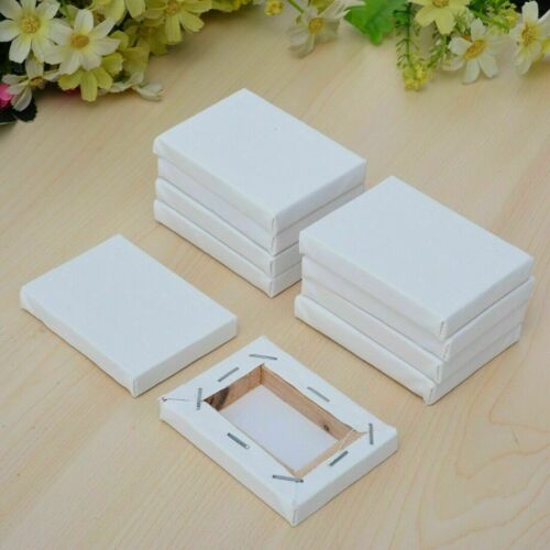 10Pcs White Blank Mini Small Stretched Artist Canvas Art Board Acrylic Oil Paint