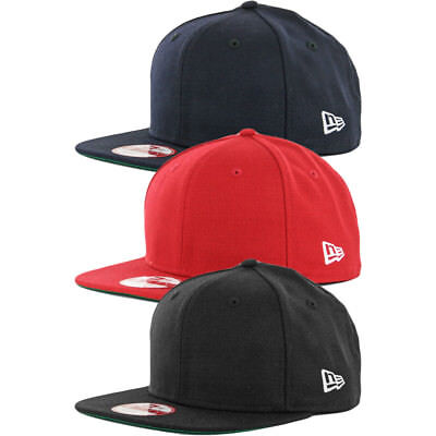 9b651dd2 New Era 9Fifty Plain Blank Snapback Hat Original Uniform Cap Black Navy Red