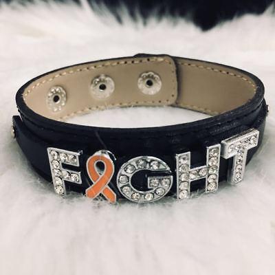 Orange Ribbon Bling Bracelet Leukemia Multiple Sclerosis Kidney Cancer Jewelry