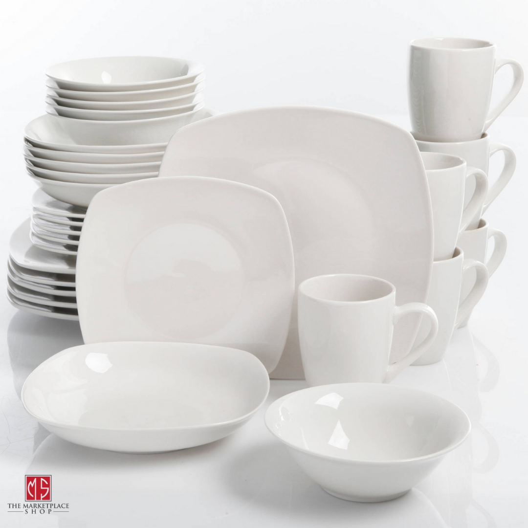 30-Piece Porcelain Dinnerware Set Square Dinner Plates Dish Service For 6 White