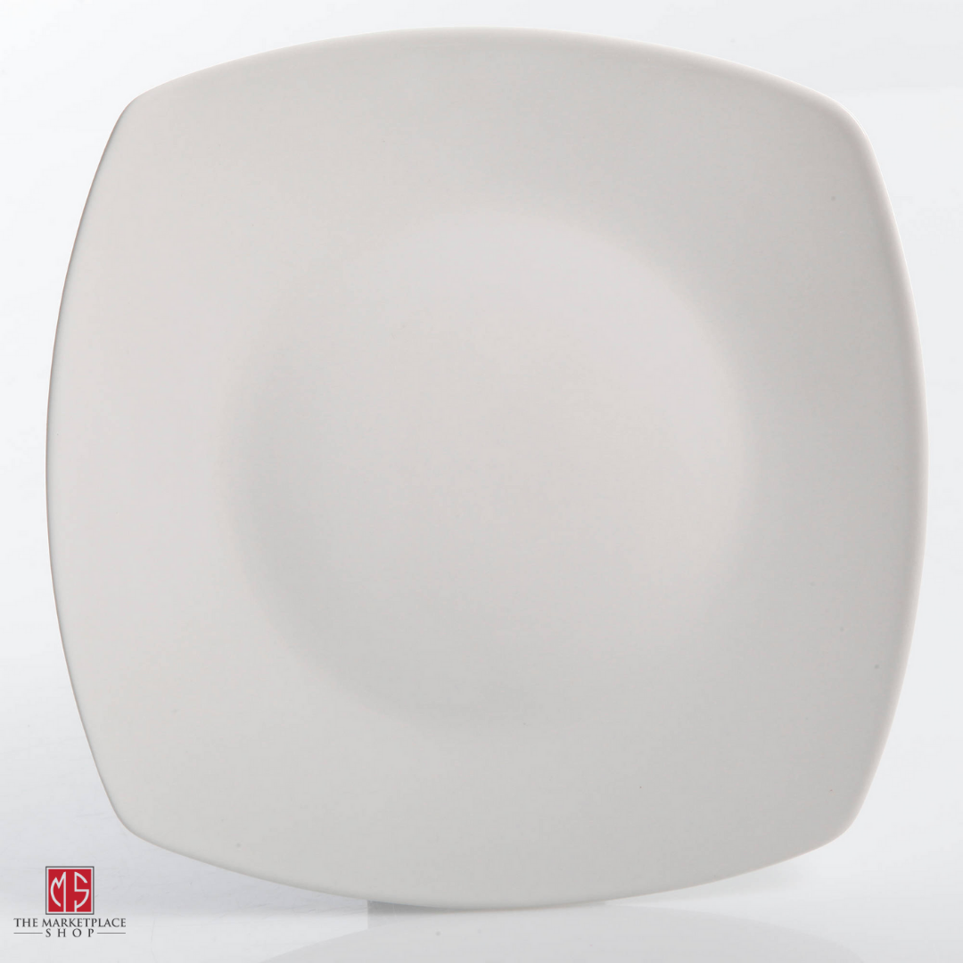 30-Piece Porcelain Dinnerware Set Square Dinner Plates Dish Service For 6 White 8