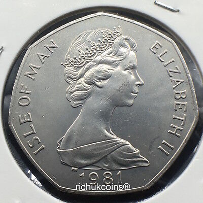 1981 T.T. Standard Finish 50p Coin with different die letters and the obverse