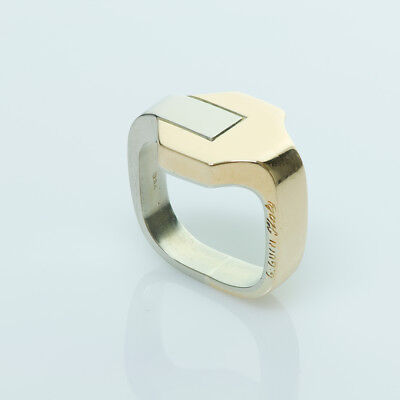 Vintage Gucci GG 18K Yellow & White Gold Buckle Ring