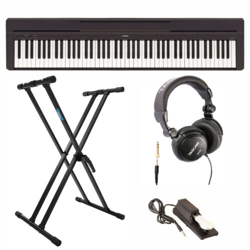 Yamaha P45B Digital Piano with Knox Double X Keyboard Stand,