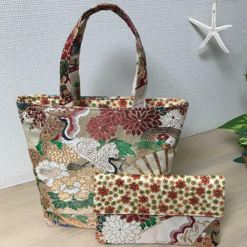 Japanese Maru OBI Remake tote bag & pouch Reversible Antique Kimono #3
