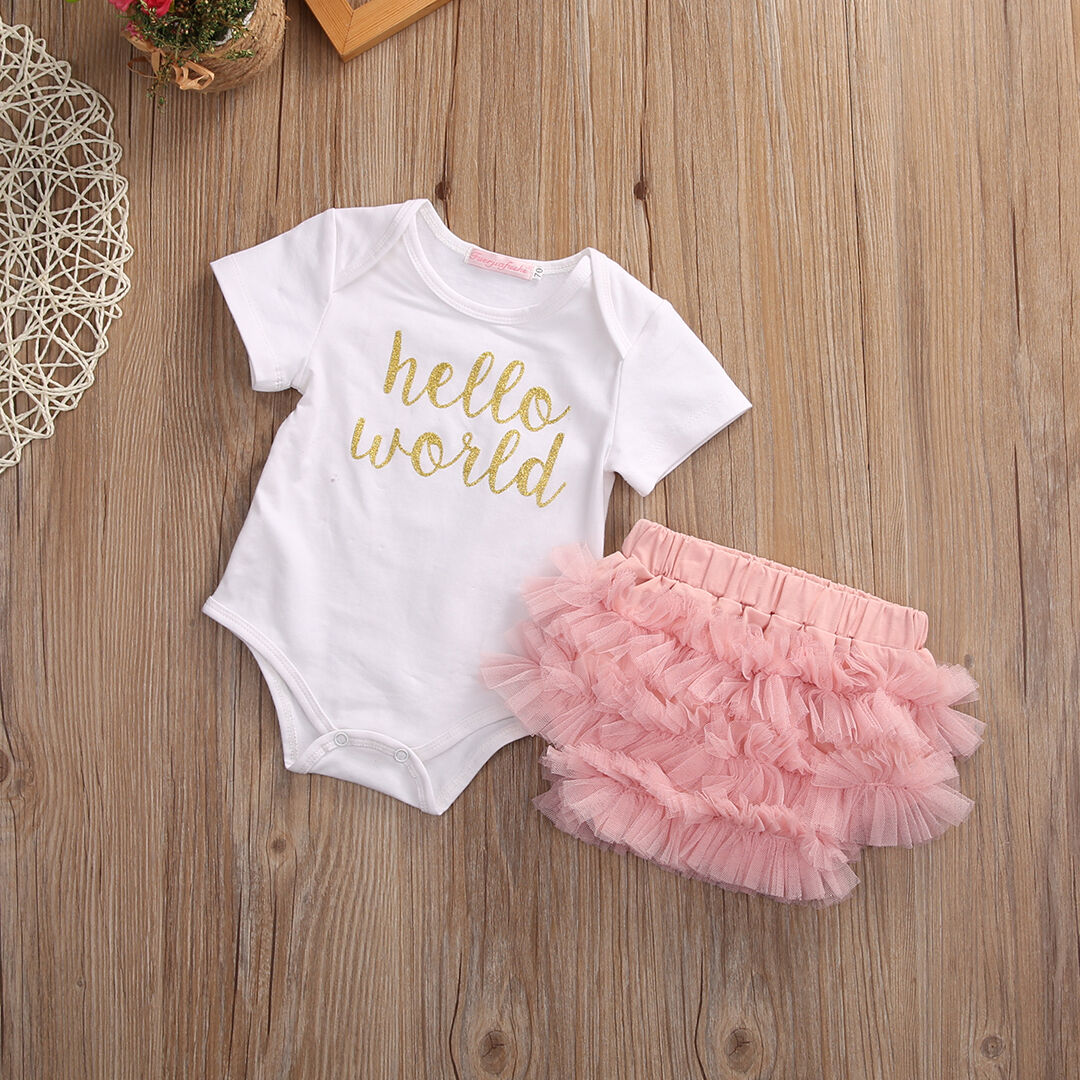 Newborn Baby Girls Outfit Clothes Romper Jumpsuit Bodysuit+Lace Pants UK Stock u2022 u00a36.99 - PicClick UK