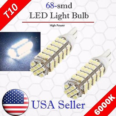 2x 6000K Xenon White LED T10 921 912 AOT 68SMD Backup Reverse Light Bulb