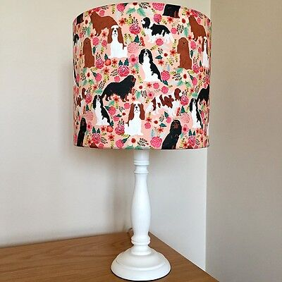 Cavalier King Charles Spaniel Dog Print Fabric Lamp