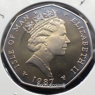 1987 IOM Xmas 50p Diamond Finish Coin with BB die marks