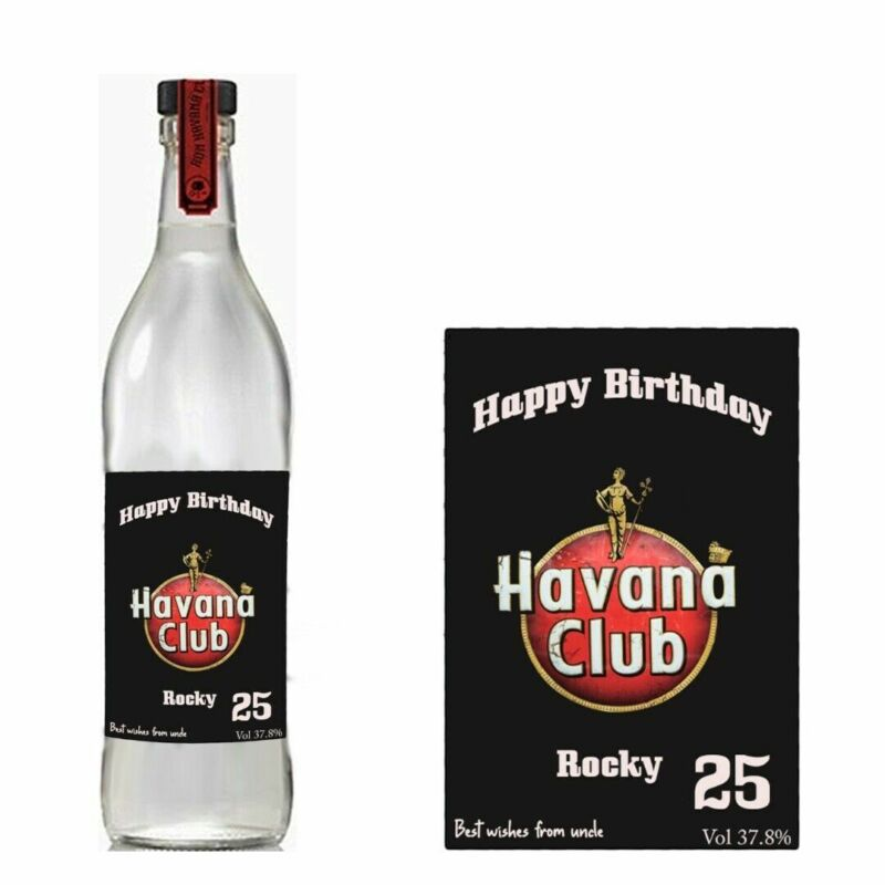 Personalised Havana Club Rum Bottle label For Birthday Xmas any occasion BL181