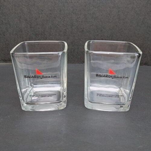 Vintage Bacardi Black Rum 8 Oz Tumbler Square Glasses Lot of 2 Barware Bar