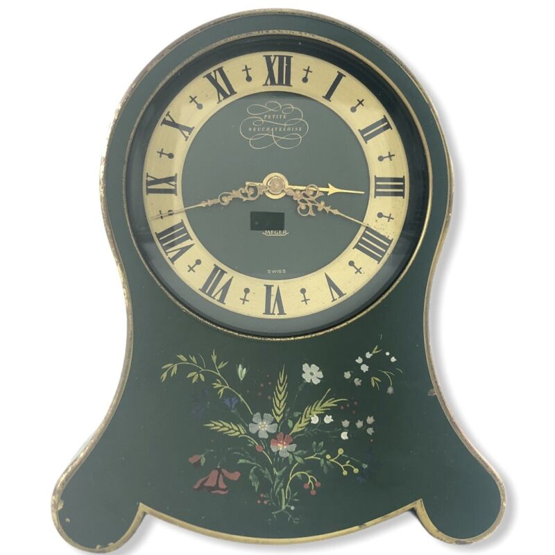 Vintage WORKING Jaeger Petite Neuchateloise Swiss Music Alarm Clock GREEN & GOLD