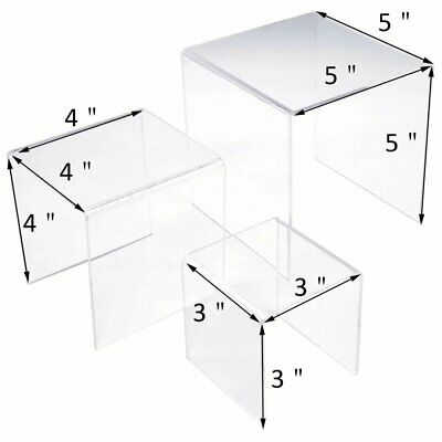 Set Of 3 Clear Acrylic Display Riser 3 4 5 Jewelry Showcase Fixtures